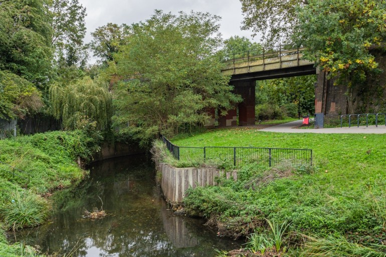 River Ravensbourne in the South Field in Ladywell Fields