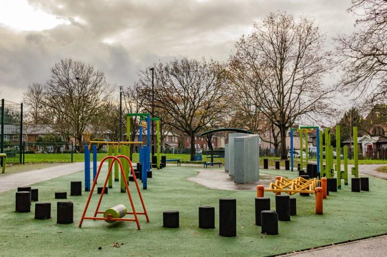 Outdoor gym on Bellingham Green in SE London