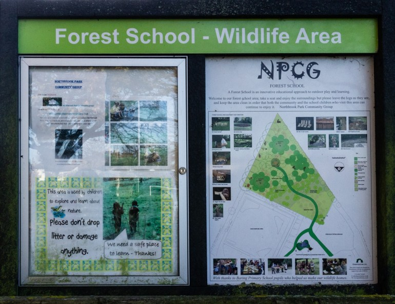 Information board at Northbrook Park in Lee