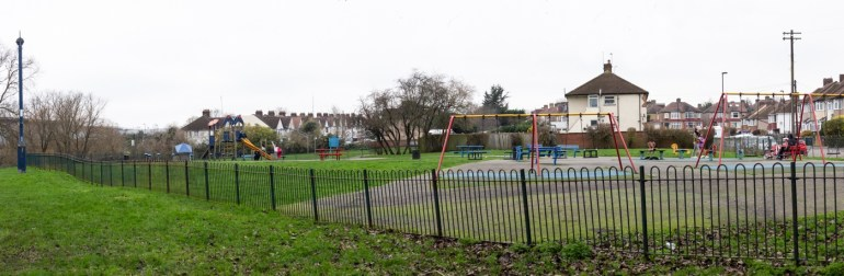 Bellingham play park and playground along Riverview Walk in SE London