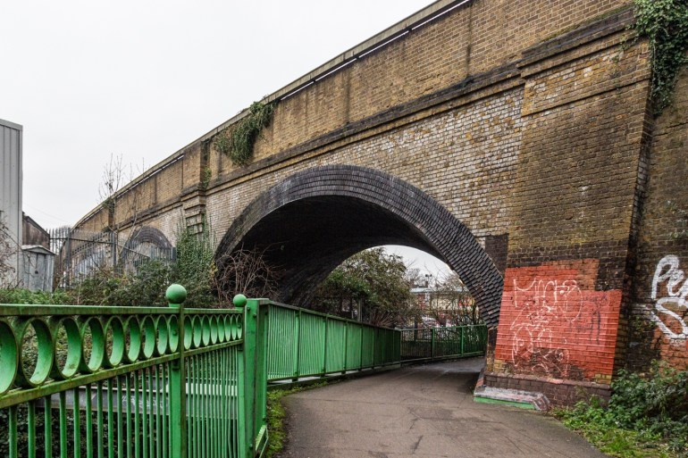 Railway line to Catford Bridge station on Riverview Walk in SE London