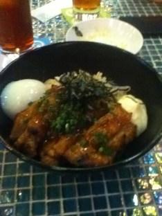 Wet egg, rice, mayonnaise, seaweed, and terriyaki chicken... this was yuck!
