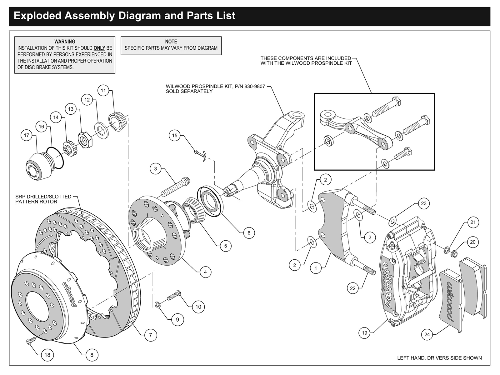 hight resolution of this is an exploded view of a typical wilwood front brake assembly in