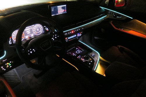 small resolution of crisp lines of ambient lighting accent the cockpit and the color of these lines and