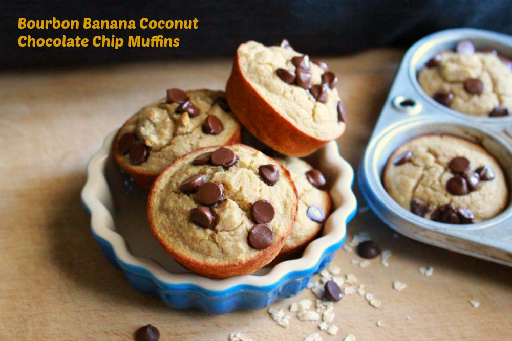 Bourbon Banana Coconut Chocolate Chip Muffins; Enticing Healthy Eating