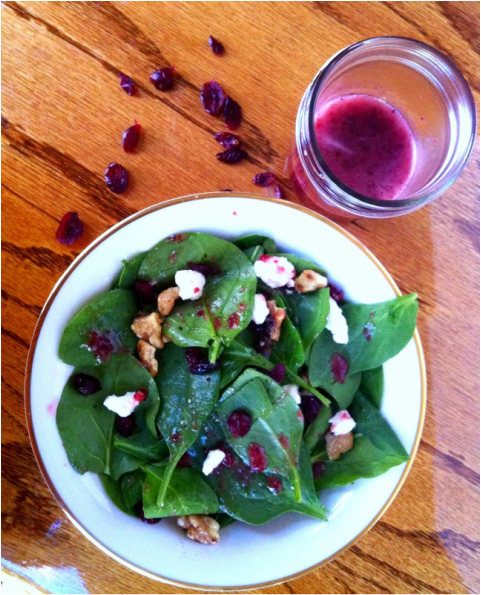Holiday Spinach Salad with Cranberry Vinaigrette; Enticing Healthy Eating