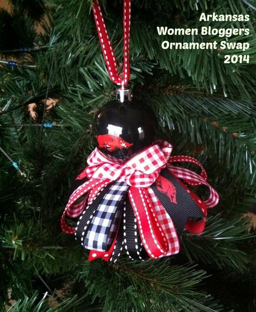 arkansas women bloggers ornament exchange 2014, Arkansas Razorback ornament; Enticing Healthy Eating