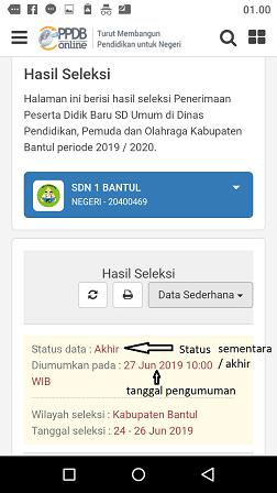 status hasil seleksi ppdb sd umum