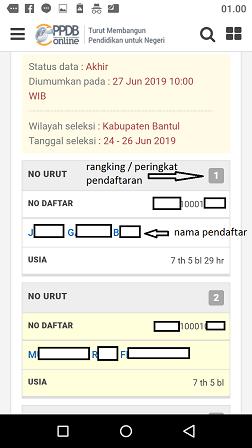 peringkat hasil seleksi nama nama lulus ppdb sd umum