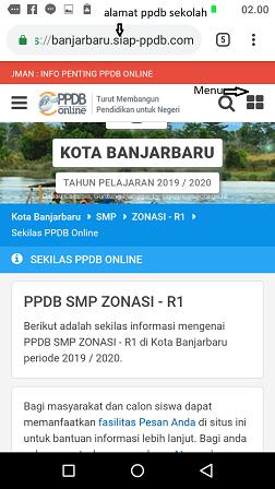 laman depan hasil seleksi ppdb smp zonasi