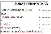 Contoh Surat Pernyataan CPNS Kementerian Kesehatan Kemkes