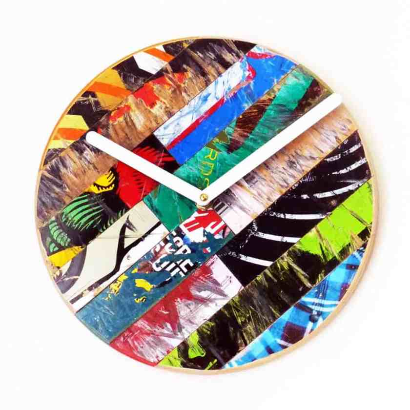 recycled skateboard clock