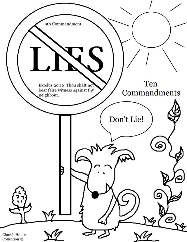10 Commandments Coloring Pages Thou Shalt Not Bear False Witness Against Thy Neighbor Lie Fun Time