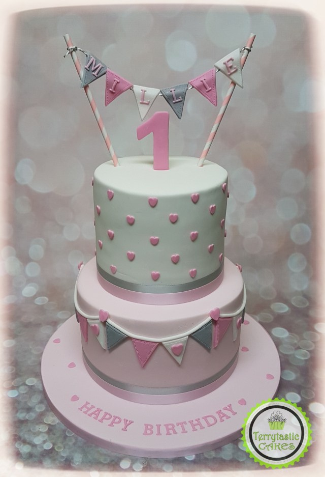 1St Birthday Cakes Girl Pink Grey Bunting 1st Birthday Cake Girl Terrytastic Cakes