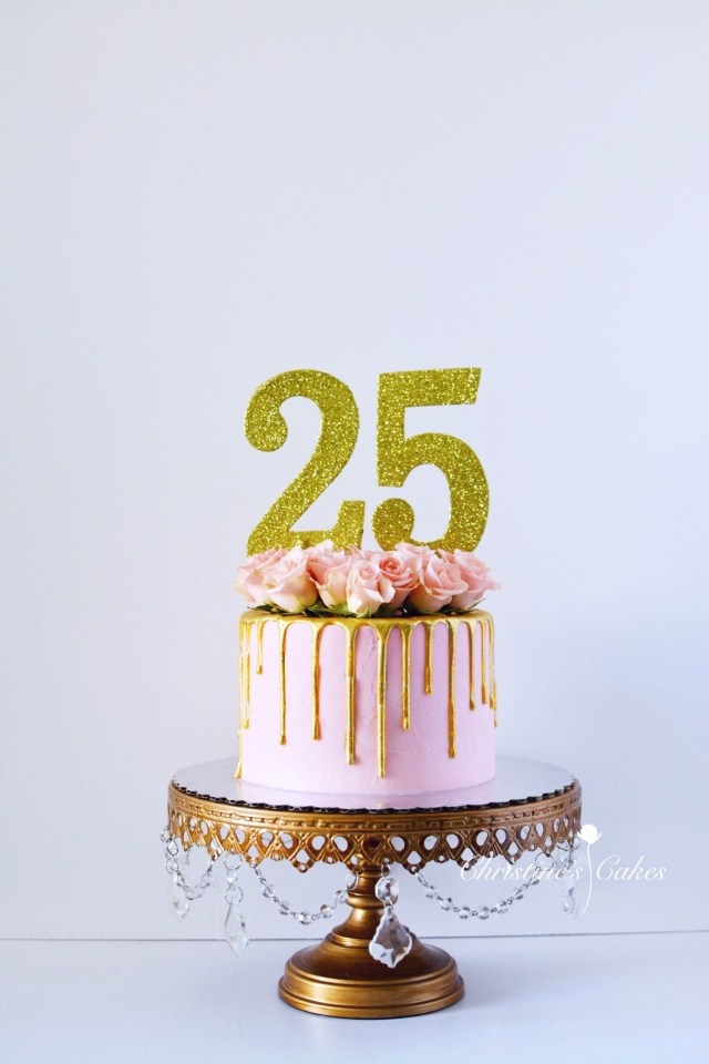 25Th Birthday Cake 25th Birthday Birthday Cake Pink Spray Roses Floral Cake Gold