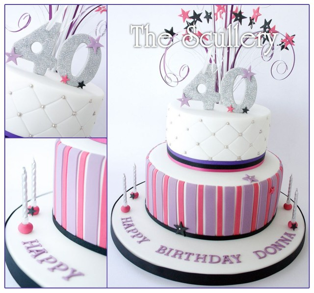 40Th Birthday Cakes For Her Ladies 40th Cake 70th Ideas