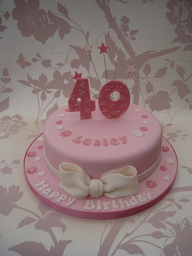 40Th Birthday Cakes For Her Pink 40th Cake Asked Something And Girly Flickr