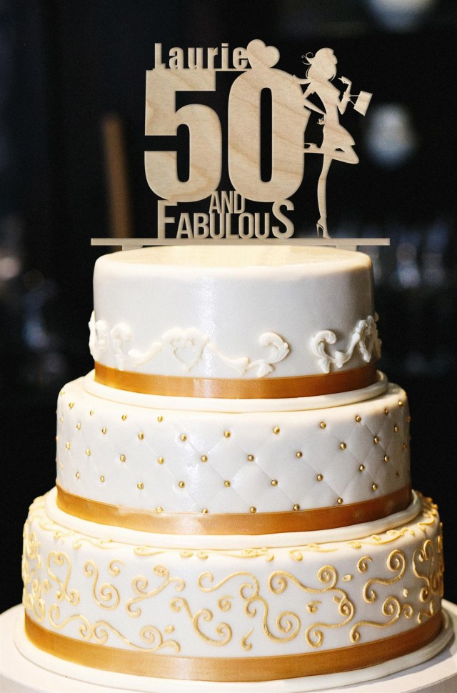 50Th Birthday Cake Toppers 50 And Fabulous Custom Topper Wood Etsy
