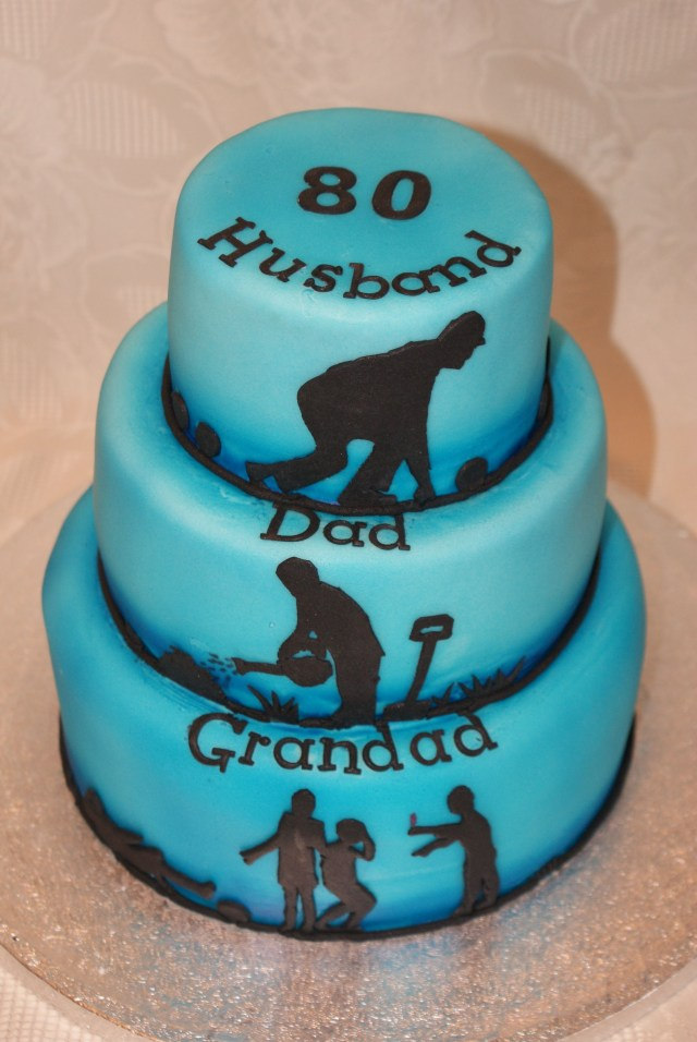80Th Birthday Cake 80th Birthday Cakehusband Dad Grandad Tiered Cake With Lawn Bowls