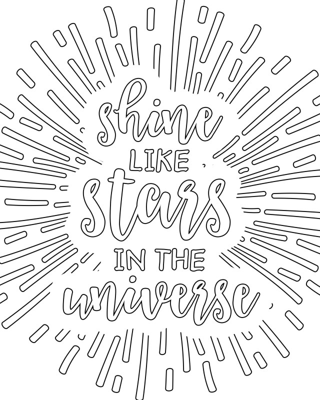 Adult Coloring Pages To Print Coloring Pages For Adults Shine Like Stars In The Universe Free