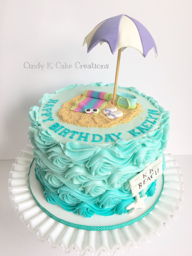 Beach Birthday Cake Buttercream Waves Beach Cake Made Cindy K Cake Creations