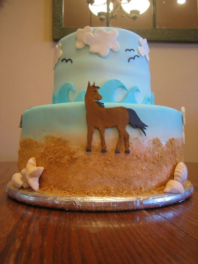 Beach Birthday Cake Horse On The Beach Birthday Cake Cakecentral