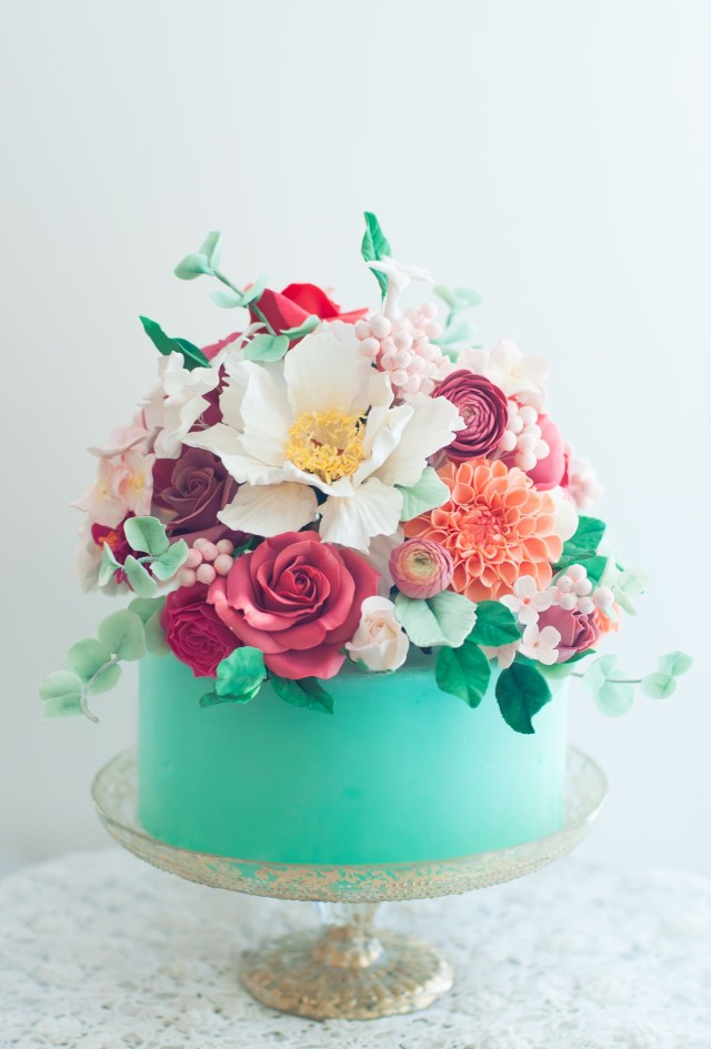 Beautiful Birthday Cake Aqua Floral Cake Lulus Sweet Secrets Cake Pinterest Cake