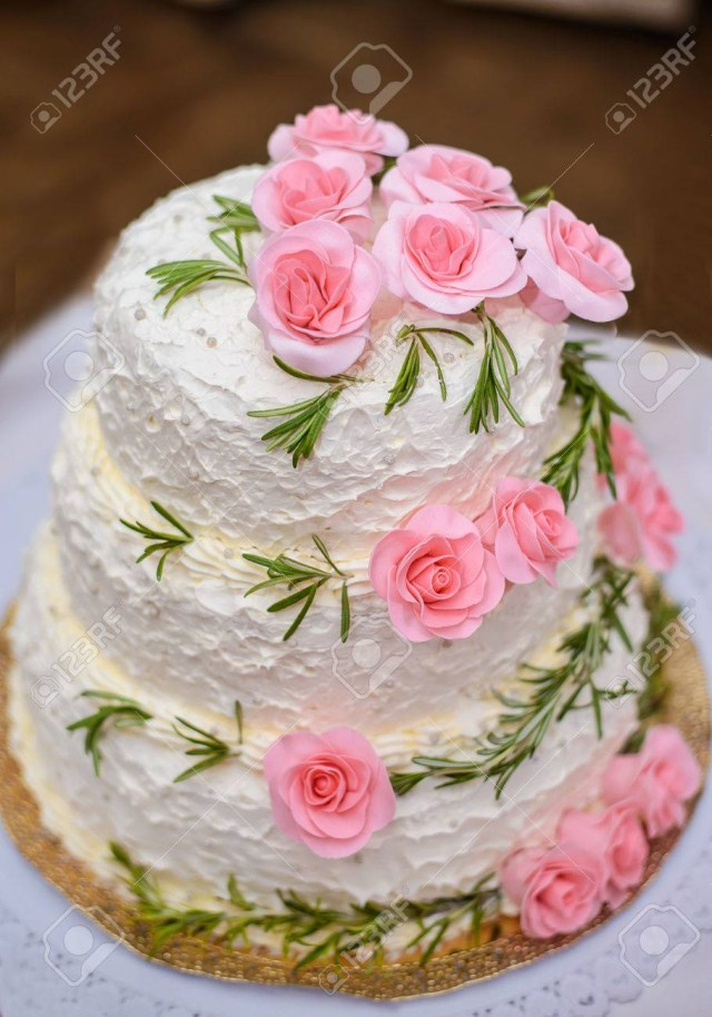 Beautiful Birthday Cake Big Beautiful Delicious Birthday Cake With Pink Roses On A White