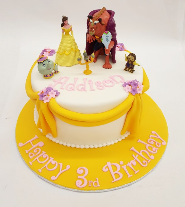 Belle Birthday Cake A Beauty And The Beast Cake With Draped Fondant And Little Flowers