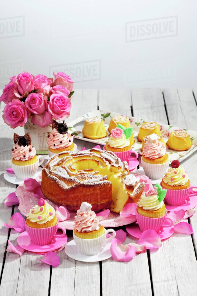 Birthday Cake Cupcakes Birthday Cake Cupcakes Muffins And Flower Vase Of Pink Roses On