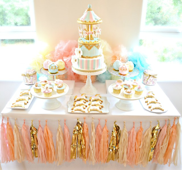 Birthday Cake Cupcakes Pink Blue And Gold Carousel Cake Table First Birthday Party