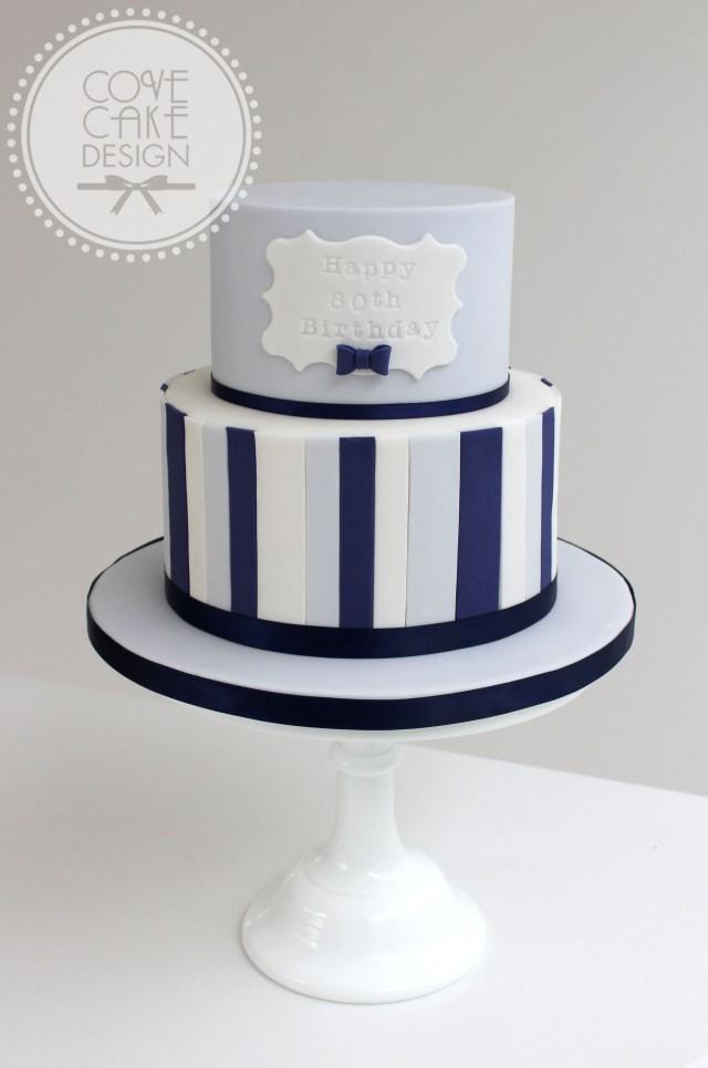 Birthday Cake For Men Blue And Navy Stripe Male Birthday Cake Cakes Pinterest Cake