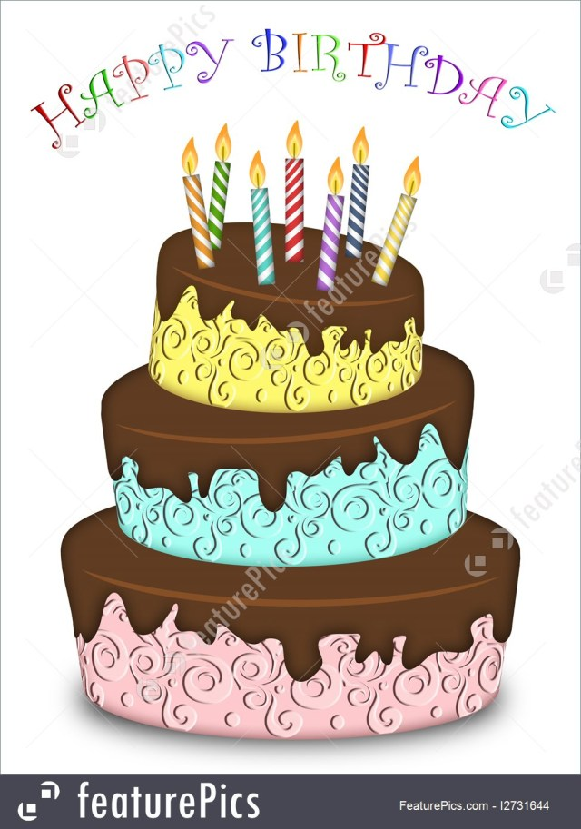 Birthday Cake Funny Celebration Happy Birthday Three Layer Funny Cake With Candles
