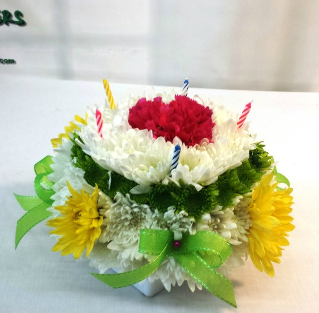 Birthday Flower Cake Same Day Delivery Birthday Flower Cake Green And Yellow Fiesta