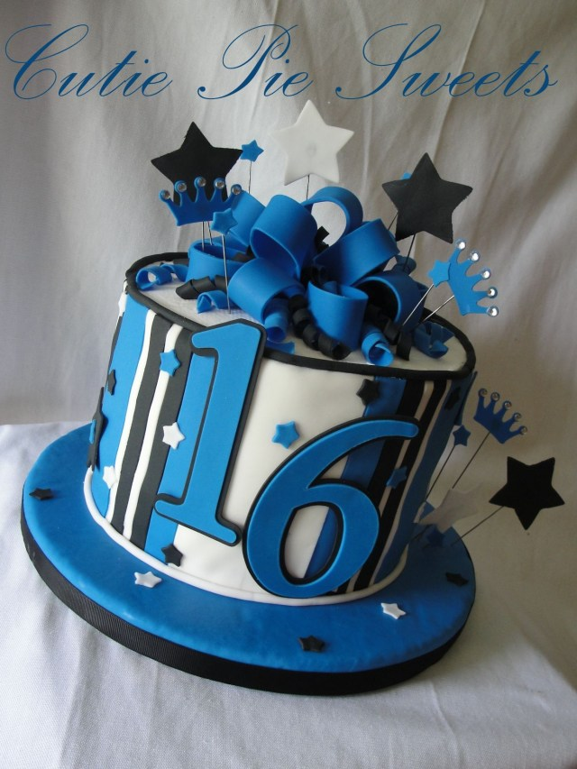 Blue And White Birthday Cake Black 16th Cakes Cupcakes 16