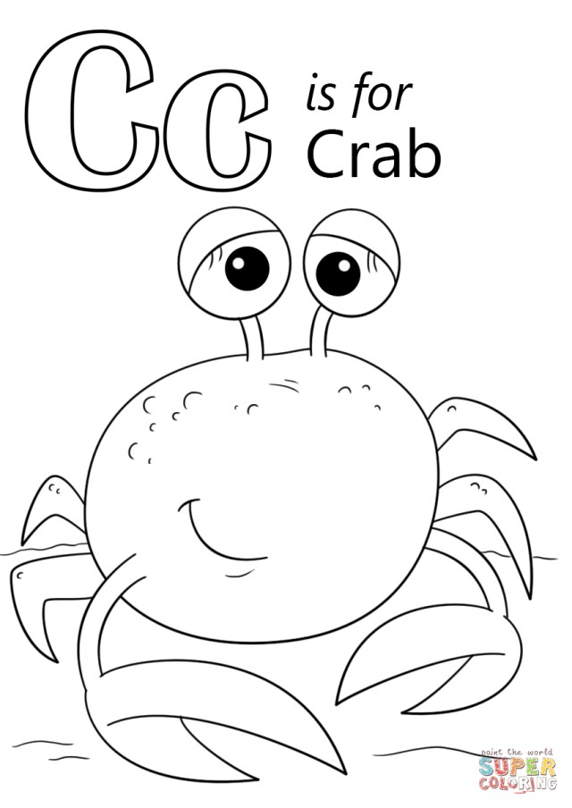 Crab Coloring Pages Letter C Is For Crab Coloring Page Free Printable Coloring Pages