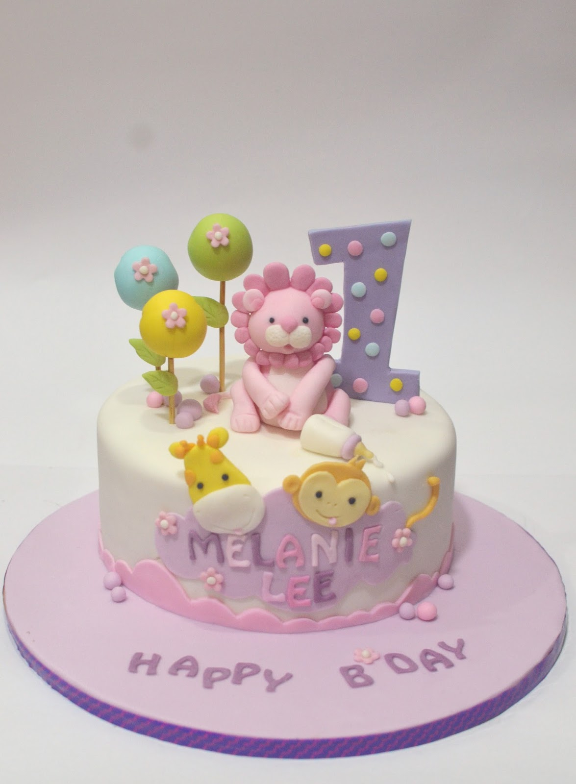 Cute Birthday Cakes Mom And Daughter Safari Animals Cake For One Year Old