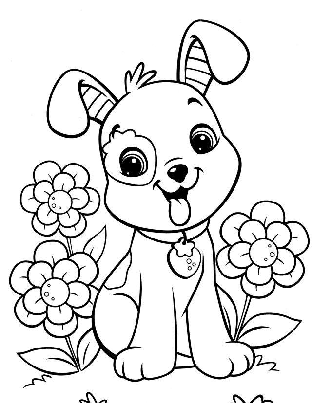 Dog Coloring Pages For Adults Dog Colorings Easy Free Printable Christmas Cute Colouring For