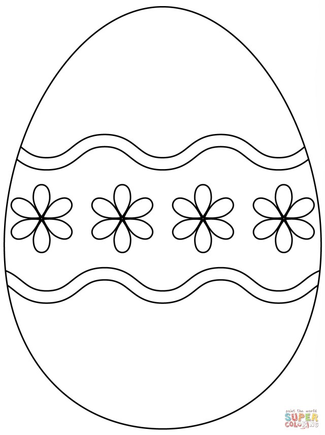 Easter Egg Coloring Page Easter Eggs Coloring Pages Egg With Simple Flower Pattern Page Free