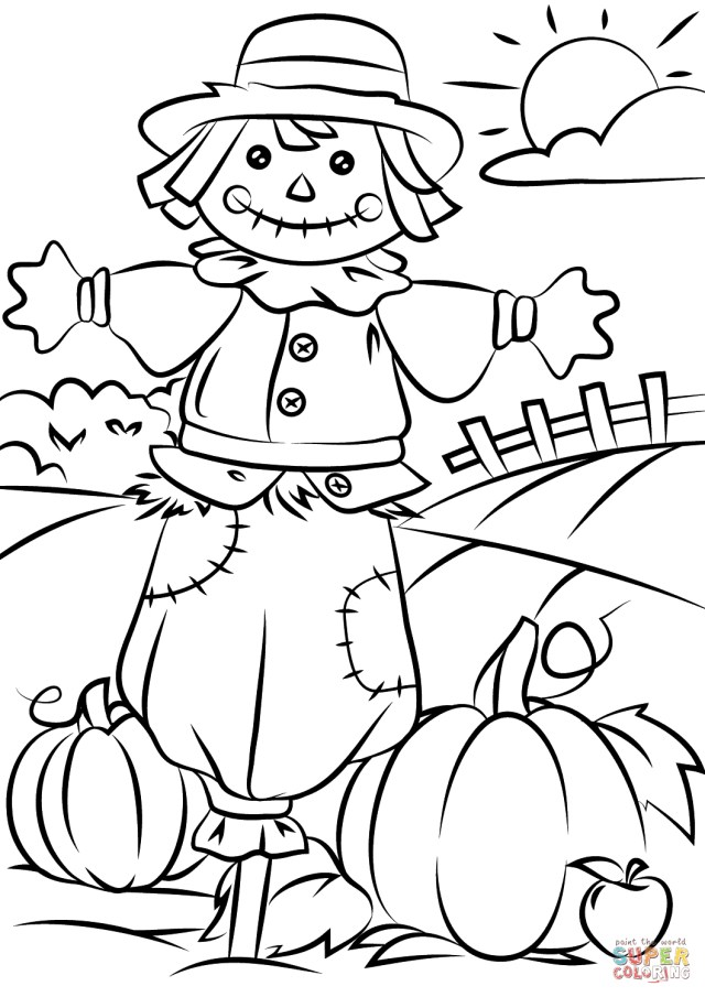 Fall Coloring Page Autumn Scene With Scarecrow Coloring Page Free Printable Coloring