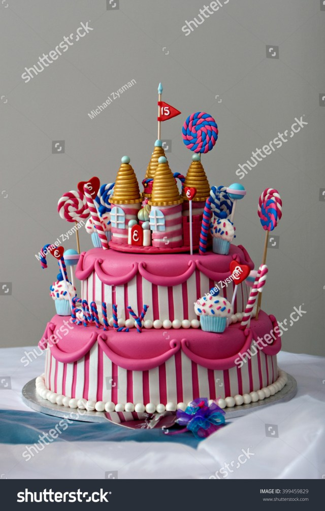 Fancy Birthday Cakes Fancy Birthday Cake Candyland Theme Three Stockfoto Jetzt