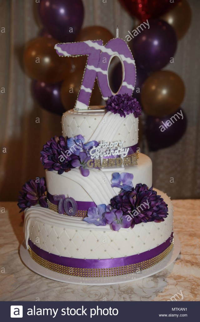 Fancy Birthday Cakes Fancy Three Tier 70th Birthday Cake Stock Photo 187280941 Alamy