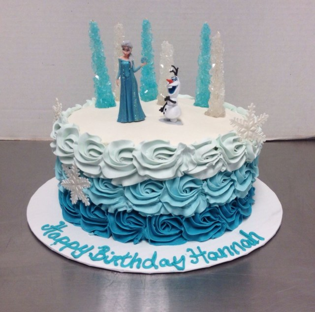 Frozen Themed Birthday Cake Frozen Birthday Cake With Ombre Rosettes Child Birthday Cake In