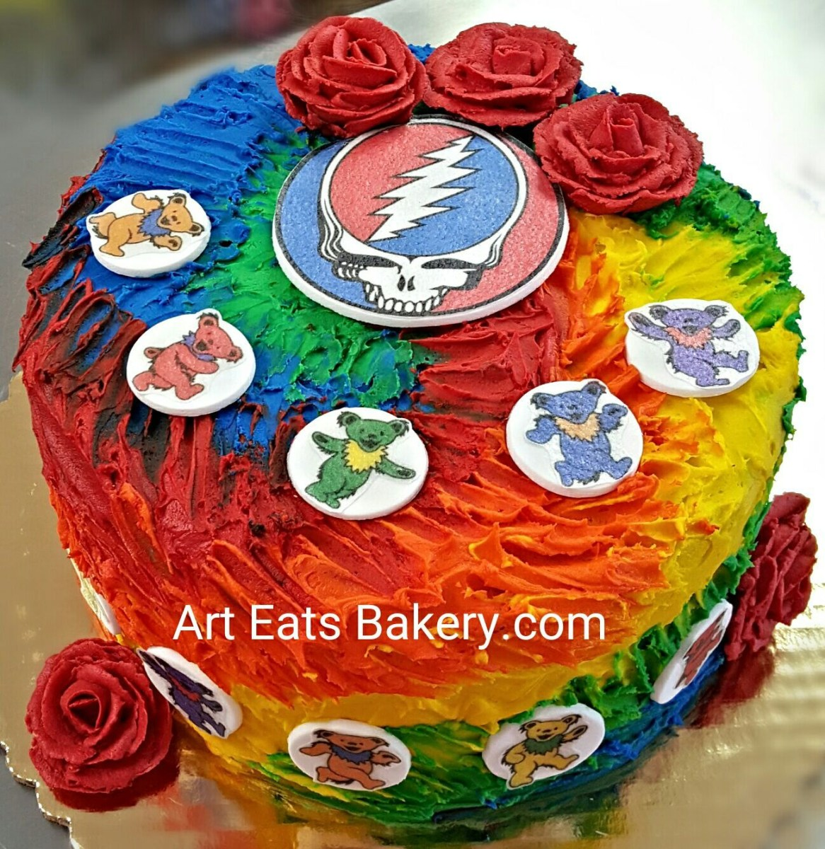 Grateful Dead Birthday Cake The Greatful Dead Tie Dye Buttercream Custom Unique Creative