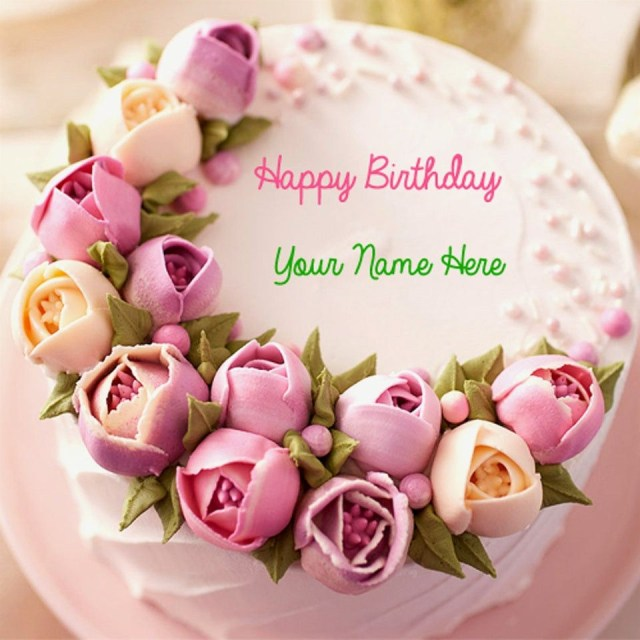 Happy Birthday Flowers And Cake Flower Lovely Wonderful