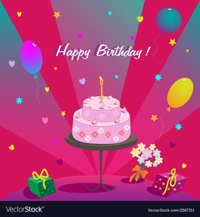 Happy Birthday Flowers And Cake Happy Birthday Gifts Cake Ballons And Stars Vector Image