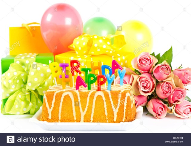 Happy Birthday Flowers And Cake Happy Birthday Party Decoration With Roses Flowers Cake Balloons