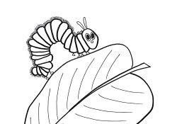 Hungry Caterpillar Coloring Pages Free The Hungry Caterpillar On A Leaf Coloring Page