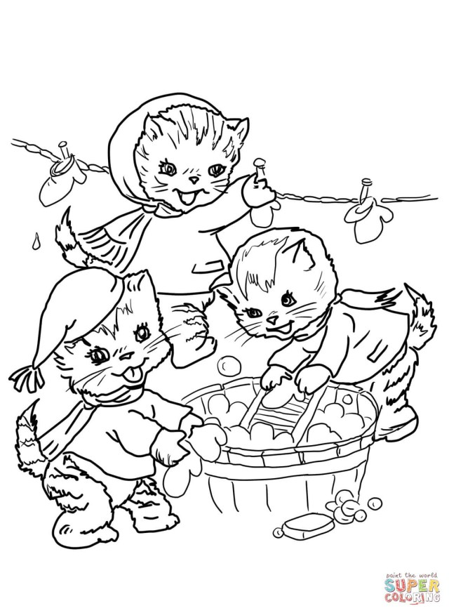Kittens Coloring Pages Three Little Kittens Coloring Page Coloring Home