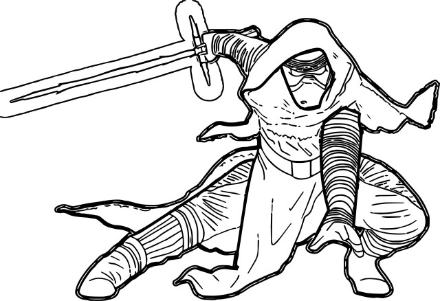 Kylo Ren Coloring Page Star Wars The Force Awakens Kyloren Cartoon Coloring Page